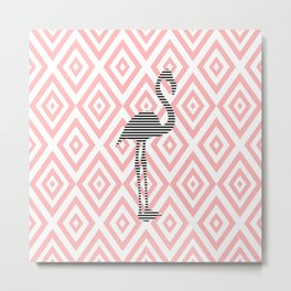 Flamingo - abstract geometric pattern - pink and white. Metal Print