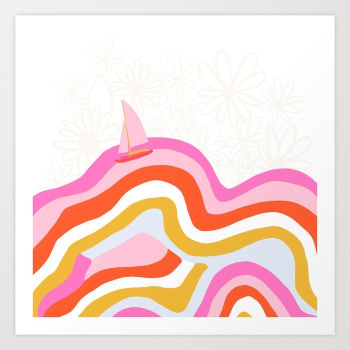 catalina, sailing waves Art Print