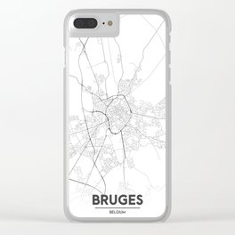 Minimal City Maps - Map Of Bruges, Belgium. Clear iPhone Case