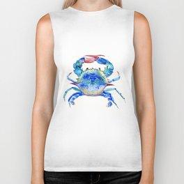 Blue Crab, crab restaurant seafood design art Biker Tank
