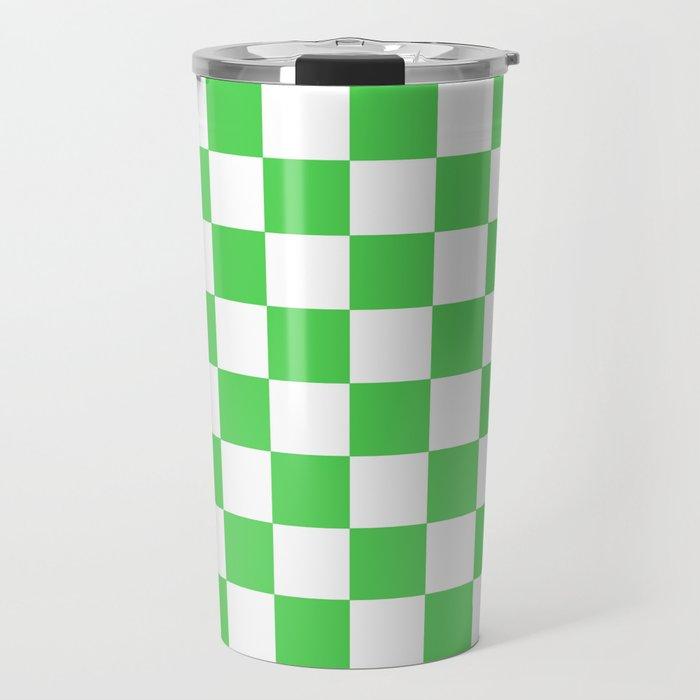 Checkered (Green & White Pattern) Travel Mug
