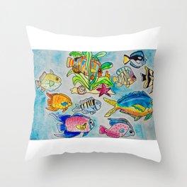 Fish Native to the Bathrooms of Perdido Key Throw Pillow