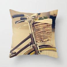 Let's Take a ride (Vintage Brown Bike) Throw Pillow