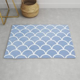 Beautiful textured large scallops in serenity blue Rug