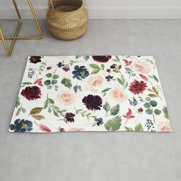 Burgundy Navy Blue Watercolor Flowers Rug