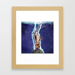 Lightning Cat Framed Art Print