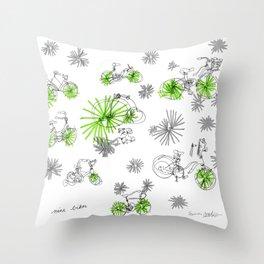 Nine Bikes Throw Pillow