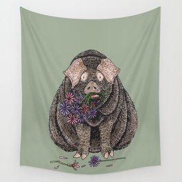 Pig with Flowers Wall Tapestry