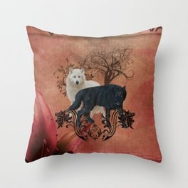 Awesome black and white wolf Throw Pillow