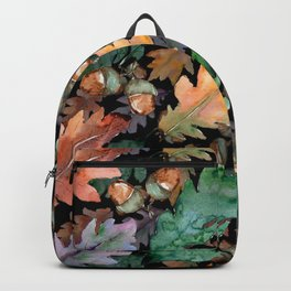 Colorful Woodland Watercolor Oak And Acorn Pattern Backpack
