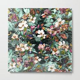 Dogwood and Magnolia II (Teal) Pattern Metal Print