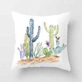 Southwst Cactus Watecolor Desert Throw Pillow