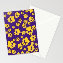 Purple and Gold Tiger Claws Pattern Digital Design Stationery Cards