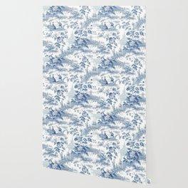 Powder Blue Chinoiserie Toile Wallpaper