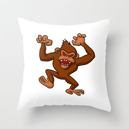 Angry Monkey Cartoon. Throw Pillow
