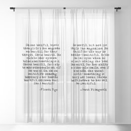 She was beautiful - Fitzgerald quote Sheer Curtain