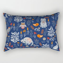 Fairy forest with animals and birds. Raccoons, owls, bunnies and little chick. Rectangular Pillow