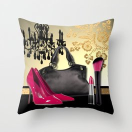 Chandelier Handbag Pumps Cosmetics Fashion Collage Throw Pillow