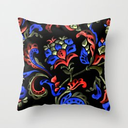 Hand-Painted Scroll Black Throw Pillow