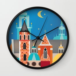 Krakow, Poland - Skyline Illustration by Loose Petals Wall Clock