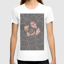 Rosegold  blossom on grey - Pink metal - effect flower T-shirt
