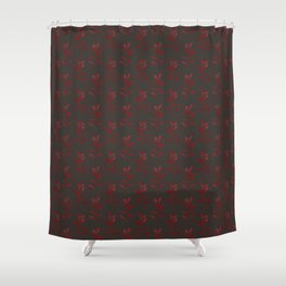 Dark red burgundy leaves pattern on deep brown chocolate Shower Curtain