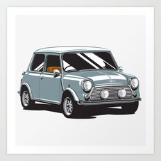 Mini Cooper Car - Gray Art Print