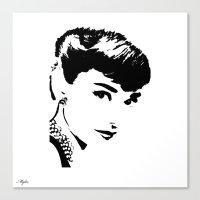 audrey hepburn Canvas Prints featuring Audrey Hepburn by Saundra Myles