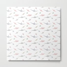 Colorful Plane Sketches Metal Print