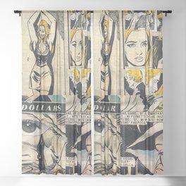 Italian Comics Vintage Pop art Collage Sheer Curtain