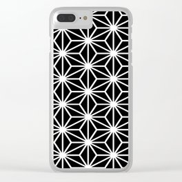 Geometric abstract modern black white stripes Clear iPhone Case