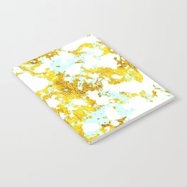 Elegant Marble and Gold Textures With Blue Splashes Notebook