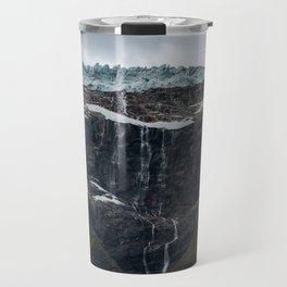 Icy Mountain Waterfall Landscape Travel Mug