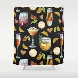 Cocktail and Biscuit Pattern Black Background Shower Curtain