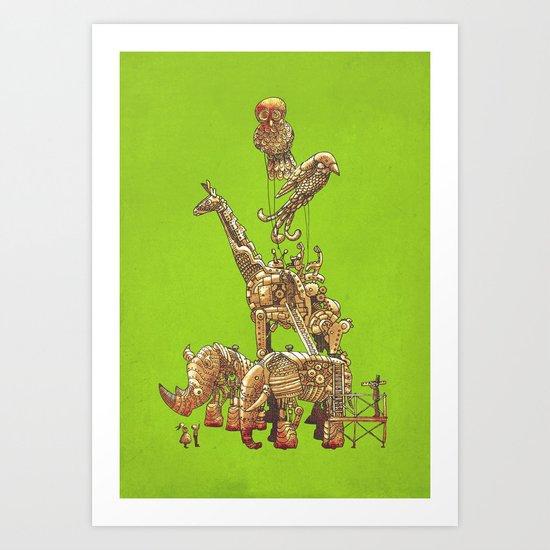 The Clockwork Menagerie (Lime) Art Print