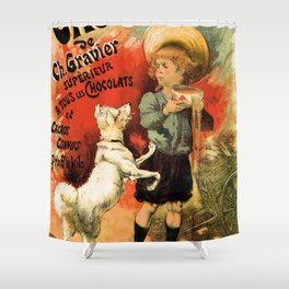 Vintage French hot chocolate advert, boy, white dog Shower Curtain
