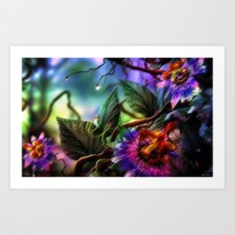 Passion Flower Orchid Amazon Rain Forest Still Life Painting by Jeanpaul Ferro Art Print