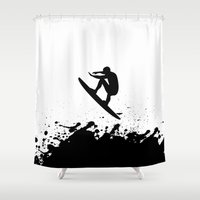 surfer Shower Curtains featuring Surfer by Emir Simsek