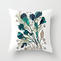 emerald Throw Pillows featuring Emerald by Tonya Doughty