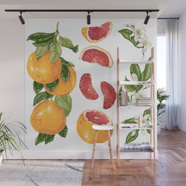 Blooming pomelo with fruits Wall Mural