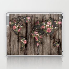 Wood Flowers Mapamundi Laptop & iPad Skin