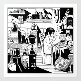 Morning coffee in a lab Art Print
