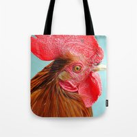cock Tote Bags featuring cock by Michael Sofronski