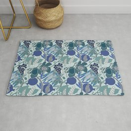 Seven Species Botanical Fruit and Grain in Blue Tones Rug