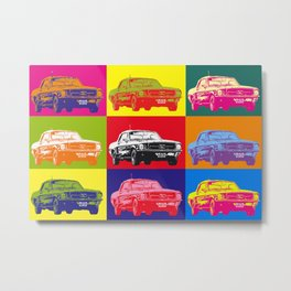 Mustang V8 1967 pop art inspired by A.W Metal Print