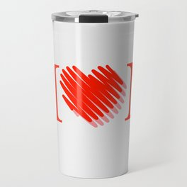 Happy mothers day- Red heart scribbled to form letter O Travel Mug