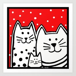 Three Kitties With Polka Dots Art Print