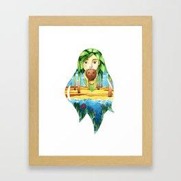 Summer coconut girl landscape Framed Art Print