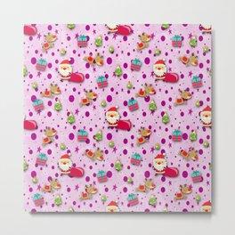 Pink Christmas Pattern Metal Print