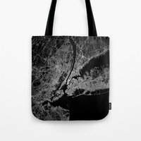 lorde Tote Bags featuring New York map by Line Line Lines